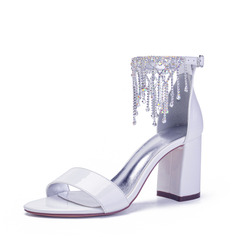 Women's Patent Leather Sandals With Rhinestone Tassel