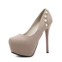 Women's Suede Stiletto Heel Pumps Platform Closed Toe With Imitation Pearl Buckle shoes
