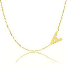 Custom 18k Gold Plated Silver Letter Sideways Initial Necklace - Birthday Gifts Mother's Day Gifts