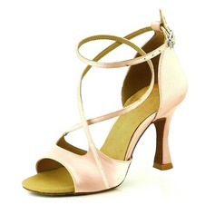 Women's Satin Heels Sandals Pumps Latin Dance Shoes