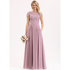 Scoop Neck Floor-Length Chiffon Lace Evening Dress With Pockets (271232511)