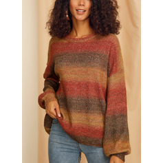 Color Block Cable-knit Chunky knit Polyester Round Neck Pullovers Sweaters (1002222967)