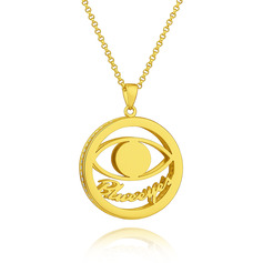 Custom 18k Gold Plated 3D Hollow Carved Name Necklace Circle Necklace With Eye - Birthday Gifts Mother's Day Gifts