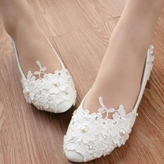 Women's Patent Leather Low Heel Closed Toe Pumps With Rhinestone Stitching Lace Flower Lace-up