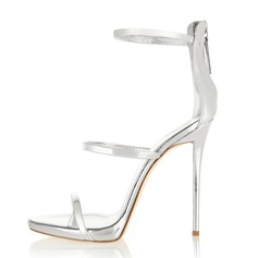 Women's Patent Leather Stiletto Heel Sandals With Zipper shoes (087086324)