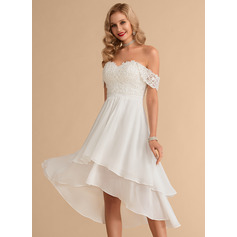 Off-the-Shoulder Asymmetrical Chiffon Lace Wedding Dress With Beading Sequins (265235464)