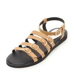 Kvinner Lær Flat Hæl Sandaler Flate sko med Spenne sko