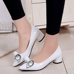 Women's PU Low Heel Pumps Closed Toe With Bowknot shoes (085137026)