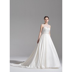 Ball-Gown Scoop Neck Chapel Train Satin Wedding Dress With Ruffle Beading Sequins