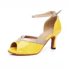 Women's Leatherette Sparkling Glitter Heels Latin With Ankle Strap Buckle Dance Shoes