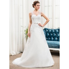 A-Line/Princess V-neck Chapel Train Tulle Wedding Dress With Beading Appliques Lace Sequins Bow(s)