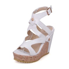 Women's Leatherette Wedge Heel Sandals Pumps Platform Peep Toe Slingbacks With Buckle shoes