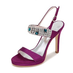 Women's Satin Stiletto Heel Peep Toe Platform Pumps Slingbacks With Buckle Rhinestone