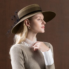 Ladies' Simple/Nice/Fancy Wool With Tulle Floppy Hat