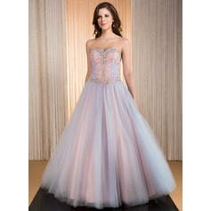 Ball-Gown Sweetheart Floor-Length Taffeta Tulle Prom Dresses With Beading Sequins (018041161)