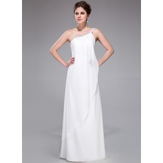 Sheath/Column One-Shoulder Floor-Length Chiffon Bridesmaid Dress With Beading Cascading Ruffles