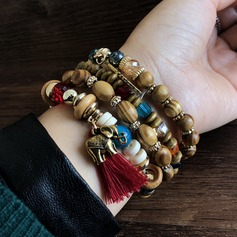 Exquisite Alloy Wood Acrylic With Tassels Unisex Fashion Bracelets (Sold in a single piece)