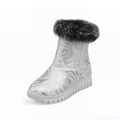 Women's Leatherette Flat Heel Riding Boots With Fur shoes