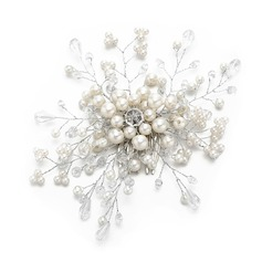 Ladies Fancy Crystal/Imitation Pearls Combs & Barrettes With Venetian Pearl/Crystal (Sold in single piece)