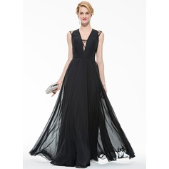 A-Line/Princess V-neck Floor-Length Chiffon Evening Dress With Lace