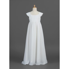 A-Line/Princess Floor-length Flower Girl Dress - Chiffon Short Sleeves Scoop Neck With Ruffles