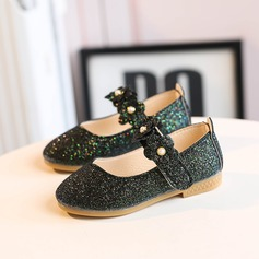 Girl's Round Toe Closed Toe Sparkling Glitter Flat Heel Flats Flower Girl Shoes With Velcro Flower