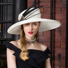 Dames Mode/Elegant/Romantische Batist met Feather Baret van Hat/Kentucky Derby Hats