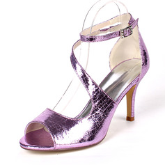 Women's Leatherette Stiletto Heel Pumps Sandals With Buckle Elastic Band
