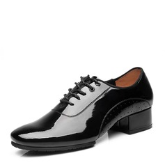 Men's Patent Leather Latin Modern Ballroom Swing Dance Boots With Lace-up Dance Shoes
