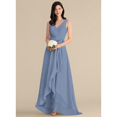 A-Line V-neck Asymmetrical Chiffon Bridesmaid Dress With Ruffle Bow(s) (266253125)