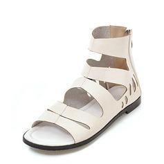 Frauen Kunstleder Niederiger Absatz Sandalen Peep Toe mit Reißverschluss Schuhe