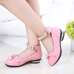 Girl's Round Toe Closed Toe Leatherette Flat Heel Flower Girl Shoes With Bowknot Imitation Pearl Pearl