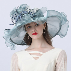 Ladies' Hottest/Romantic Organza With Silk Flower Beach/Sun Hats/Tea Party Hats (196233903)