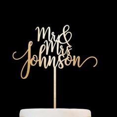 "Personlig ""Mr & Mrs"" Trä Cake Topper"