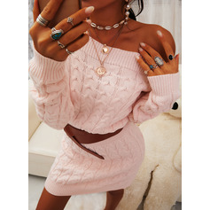 Round Neck Long Sleeves Solid Casual Long Sweater Dresses (1002265207)