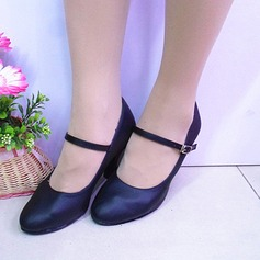 Women's Real Leather Heels Ballroom With Buckle Dance Shoes