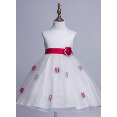 A-Line/Princess Tea-length Flower Girl Dress - Satin/Tulle Sleeveless Scoop Neck With Sash