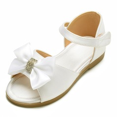Girl's Peep Toe Satin Flat Heel Flats Flower Girl Shoes With Bowknot Velcro