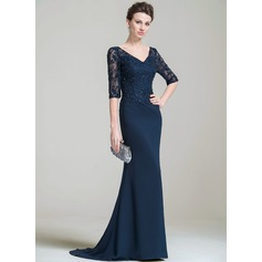 Trumpet/Mermaid V-neck Sweep Train Chiffon Lace Mother of the Bride Dress With Beading Appliques Lace Sequins