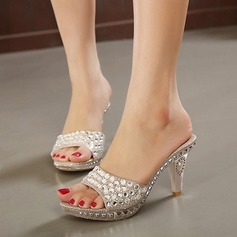 Women's Sparkling Glitter Stiletto Heel Sandals Pumps Peep Toe Slingbacks Slippers With Rhinestone Beading Jewelry Heel shoes
