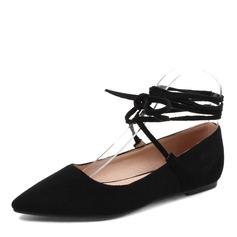 Women's Suede Flat Heel Flats With Lace-up Elastic Band shoes