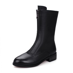 Women's PU Chunky Heel Boots Mid-Calf Boots With Zipper shoes