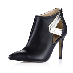 Leatherette Stiletto Heel Pumps Closed Toe Ankle Boots With Zipper shoes