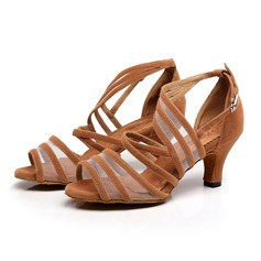 Women's Suede Heels Sandals Latin With Hollow-out Dance Shoes