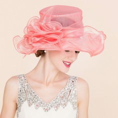 Classic Organza With Silk Flower Floppy Hat
