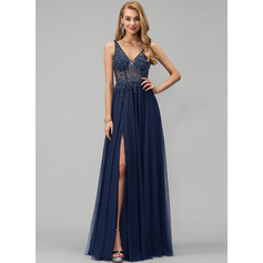 A-Line V-neck Floor-Length Tulle Evening Dress With Beading Sequins Split Front