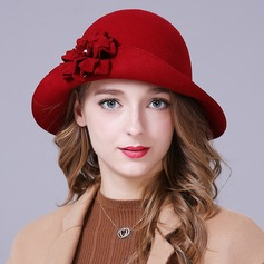 Ladies' Glamourous/Elegant/Simple Wool With Flower Floppy Hat