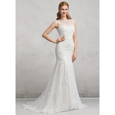 Trumpet/Mermaid Illusion Sweep Train Tulle Lace Wedding Dress With Beading Sequins