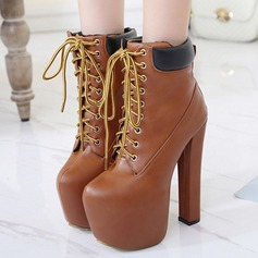 Women's PU Stiletto Heel Pumps Platform Boots Mid-Calf Boots With Lace-up shoes