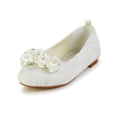 Girl's Satin Flat Heel Closed Toe Flats With Flower (207095472)